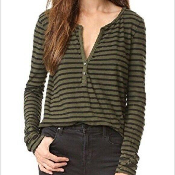 Pam & Gela Striped Henley Long Sleeve Top sz S
